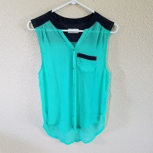 Hollister Button Popover Top S Sheer Mint Navy